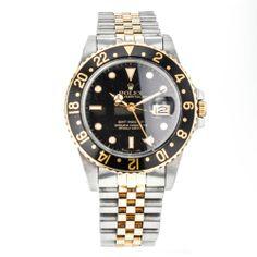 Men's Vintage ROLEX GMT Master 16753 18k Yellow Gold & Stainless Steel Watch #ROLEX #Sport