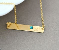 Birthstone Necklace, Personalized Bar Necklace, Sterling Silver or Gold Initial Necklace, Name Necklace, Monogram Birthstone Necklace