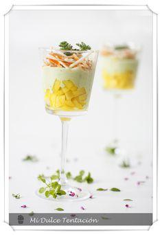 Mi dulce tentación: Ensalada de Mango y Cangrejo sobre Crema de Aguacate