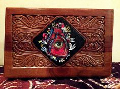 Hand Painted Vintage Ornate Wooden Musical Jewelry Box ( EYE + HEART + YOU )