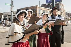 Olde Towne Carolers spreading early cheer for Allston Christmas 2015 in Boston