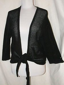 Sz XL Christopher & Banks Black Knit Shrug 3/4 Sleeves Tie Front Open Weave