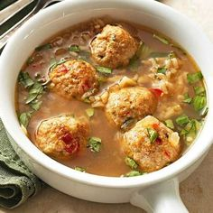 Gingered Chicken Meatball Soup with Brown Rice and Basil: This healthy, Asian-style soup is ready in only 45 minutes. Recipe: http://www.midwestliving.com/recipe/gingered-chicken-meatball-soup-with-brown-rice-and-basil/