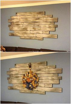 Shocking Ideas for Reusing Old Wasted Wood Pallets You can beautifully arrange your living room areas or the lounge areas with the creative placement of the wood pallet planks in wall decorat Pallet Wall Decor, Pallet Walls, Pallet Art, Diy Pallet Projects, Pallet Ideas, Pallet Couch, Wooden Wall Decor, Wooden Pallets, Diy Wall