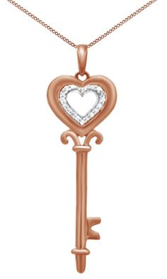 Natural Diamond Accent Heart Top Key Pendant In 14K Rose Gold Over Sterling Silver. Crafted In 14K Rose Gold Over Sterling Silver. Round Cut White Natural Diamond Having Stunning Clarity Of I2-I3. Makes A Great Gift Or It Is Fabulous For Yourself. Note: Due to the difference between different monitors, the picture may not reflect the actual color of the item. We guarantee the style is the same as. Made In USA.