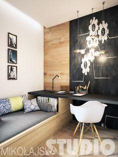 Something like this in J room. Desk under windows. Cheap Rustic Decor, Cheap Home Decor, Small Apartment Interior, Interior Design Living Room, Home Office Design, Home Office Decor, Platform Bed Designs, Boys Room Design, Teenage Room