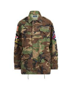 7b758e10c9d37 Polo Ralph Lauren Women Military Army Camo American Flag Skull Bomb Field  Jacket | eBay