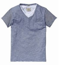 Scotch & Soda Shrunk 2-in-1 Double Layer V-Neck Tee With Pocket