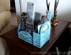 Homemaking ~ DIY ~ Crafts ~ Organization ~ Recipes ~ Tips and Tricks ~ Techy Tips Remote Caddy, Remote Control Holder, Home Crafts, Diy Crafts, My Sewing Room, Home And Deco, Craft Organization, Recycled Crafts, Diy Storage