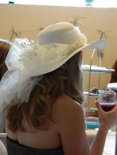 Tea party bridal shower- hat made for the bride!