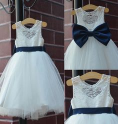 2015 rustic Ivory Lace Navy blue sash/bow Flower Girl Dress White Country Toddler Wedding baptism Tulle Baby party Birthday
