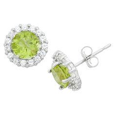 Tiara 10k White Gold Garnet Halo Gemstone Earrings