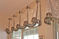 slouch style valence from medallions- Hobby Lobby medallions-damask pattern framed out-kitchen-chic. micro cord with tassel fringe-Finishing Touches-window treatments-Denver-Castle Pines-Castle Rock-Highlands Ranch-