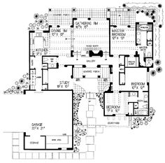 Trendy house plans with courtyard spanish style santa fe Ideas Courtyard House Plans, Front Courtyard, Spanish Courtyard, Modern Courtyard, Courtyard Ideas, Bungalow House Plans, House Floor Plans, Pueblo House, Spanish Style Homes