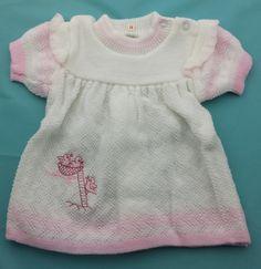 vintage 70's  gebreid babyjurkje maat 55 56 deadstock newborn babykleding uit jaren 70 made in Holland lief jurkje ook voor girl rebornsbaby door Smufje op Etsy