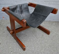 Percival Lafer; Jacaranda and Leather Sling Chair, 1960s.