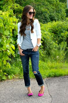 White blazer, gray tee, rolled jeans, pink flats