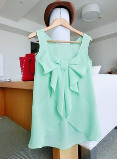 Mint bow shirt