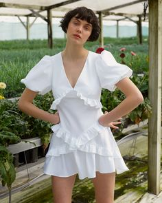 BACKYARD STANCE: is her name, sustainability is her game. Wear your fashion with purpose. White Dress Summer, White Mini Dress, Summer Dresses, Diy Fashion, Fashion Details, Saks Fifth Avenue, Ruffle Dress, Dress Making, Short Dresses
