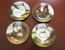 8 Sakura ON THE FARM David Carter Brown ROOSTERS Salad/Dessert Plates SET OF 8