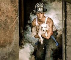 Oh my! What's not better than a gorgeous fire fighter posing with a cute dog for a calander?!