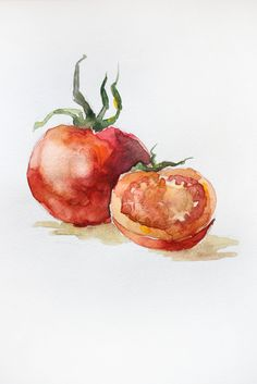 Original Watercolor Painting Red Tomatoes Organic Vegetables Two Tomatoes Delicious For Kitchen Art OOAK original painting original drawing watercolor original summer nature Spring greenery watercolor freshness Vegetables Organic Tomatoes Kitchen 35.00 USD #goriani