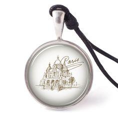 vietguild Hand Drawn Paris Cathedrals Necklace Pendants Pewter Silver