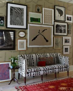 Peeking Into Designer's Homes, via The Zhush. various patterns, colors and arts together in harmony. need to look closely how to pull off this sorta styling...