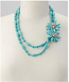 $26.99 Turquoise Side-Flower Triple-Loop Necklace (Reg $99.99)