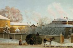 Magnus von Wright: Annankatu on a Cold Winter Morning, 1868. #Ateneum Art Museum. The last completed painting of Magnus von Wright. It is a period view of around where Annankatu 13-15 is located in today's Helsinki. As such it is a rare document of Helsinki in the age of Empire style.