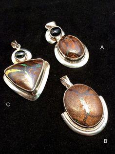 Australian Fire Opal Pendant. Sterling Silver, Hinged w/ Iolite or Black Star. free US ship