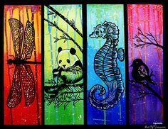 Creatures in Colors. 16x20 Acrylic on canvas.