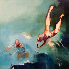 "Saatchi Online Artist: Charlotte Evans; Oil, 2012, Painting ""Dive 2 SOLD"""