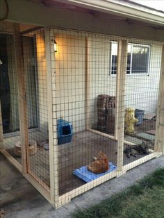 Outdoor cat area - catio~Love this, ha! Cat Run, Outdoor Cat Enclosure, Diy Cat Enclosure, Reptile Enclosure, Cat Kennel, Cat Cages, Cat Towers, Cat Condo, Outdoor Cats