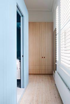 Blue Walls and Pocket Door with Pine Floors Open House: 23 The Grove, Coburg House Inspo, Australian Homes, Home, Bedroom Interior, Interior Design Bedroom, House, Awesome Bedrooms, Interior Design, Eco Friendly Kitchen
