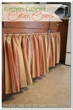 cabinet with curtain and a swing arm curtain rod - the best way to