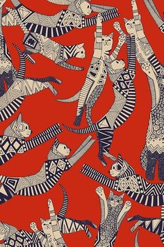 Retro cat party by scrummy. Vintage red/orange with deep blue cat illustrations… - Tapeten ideen - Retro cat party by scrummy. Vintage red/orange with deep blue cat illustrations Retro cat party by - Cat Wallpaper, Pattern Wallpaper, Wallpaper Backgrounds, Fabric Wallpaper, Orange Wallpaper, Trendy Wallpaper, Vintage Wallpaper Patterns, Iphone Wallpapers, Tribal Wallpaper