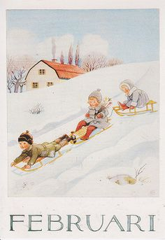 ginger and blonde - Månadsbild med klassiskt Elsa Beskow motiv Februari Elsa Beskow, Images Vintage, Vintage Pictures, Vintage Postcards, Vintage Art, Gravure Illustration, Illustration Noel, Baby Boy Snowsuit, Baby In Snow