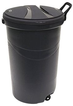 Rubbermaid RM5H9601 Wheeled TrashGarbage Can with Handle 32Gallon Black 2Pack