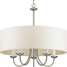 Five Light Brushed Nickel Off White Glass Drum Shade Chandelier : SKU 1NCAD | Brechers Lighting