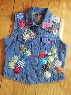 Child's embellished jean jacket Jean 1, Long Denim Jacket, Denim Vests, Embellished Jeans, Denim Bag, Vintage Denim, Diy Clothes, Teacher Clothes, At Least