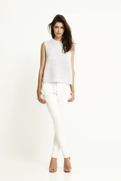 ELECTRIC MOTO LEATHER PANT. White on white.