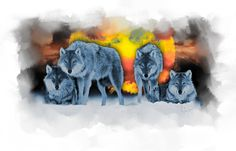 """$1100; """"The Pack"""" Digital Painting © Victoria Antoine-Fisher"""