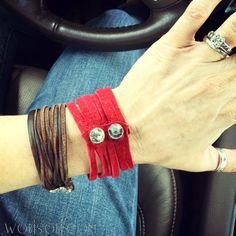 WobiSobi: Red Leather and Rhinestone Bracelet, DIY