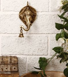Brass Ganesha Wall Hanging with Bells Click on the photo to shop!