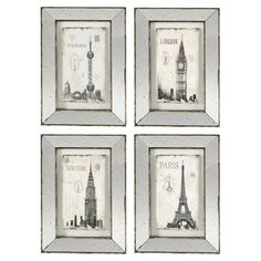 Add an artful touch to your living room or entryway with this cosmopolitan framed print, showcasing a mirrored border and vintage-inspired landmark motif.  ...