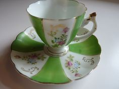 Lovely Little Vintage Tea Cup and Saucer Set with Hand Painted Roses - Pink and Green with Gold Trim Made in Japan