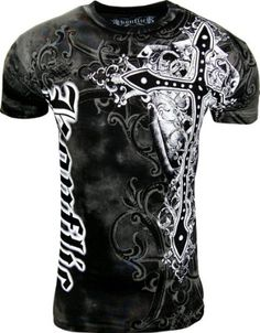 9abb0dd6fc Amazon.com: Konflic Men's All Over Print MMA Style Short Sleeve T-Shirts -  T767WH-S: Clothing