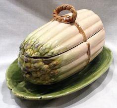 RARE Sarreguemines Asparagus Covered Serving Bowl Majolica | eBay