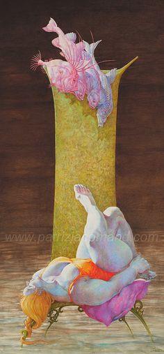 """La Casta Susanna"" - Patrizia Comand, acrylic on canvas, 2005 {figurative #surrealism art female fish supine reclining obese woman cropped painting} patriziacomand.com"